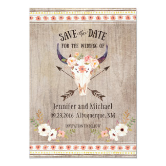 Southwestern Skull and Arrow Save the Date 5x7 Paper Invitation Card