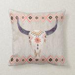 Southwestern Steer Skull and Tribal Pattern Pillow