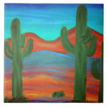 Southwestern Style Saguaro Sunset Painting Ceramic Tiles