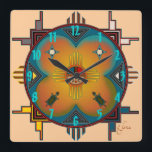 """Southwestern Style Square Wall Clock<br><div class=""""desc"""">Southwestern style design.</div>"""