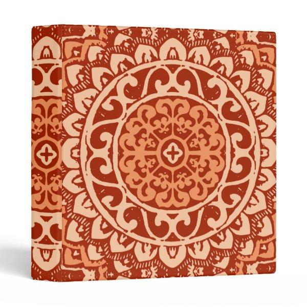 Southwestern Sun Mandala Batik, Coral Orange Binder