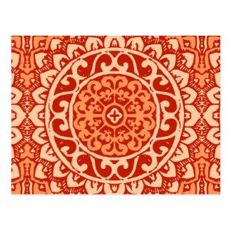Southwestern Sun Mandala Batik, Coral Orange Postcard