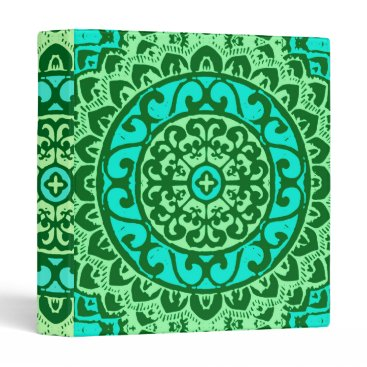 Aztec Themed Southwestern Sun Mandala Batik, Lime Green Binder