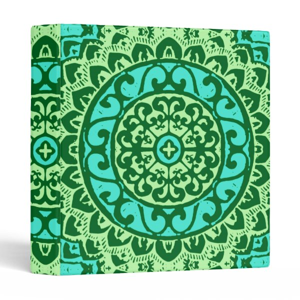 Southwestern Sun Mandala Batik, Lime Green Binder