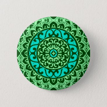 Aztec Themed Southwestern Sun Mandala Batik, Lime Green Button