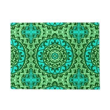 Aztec Themed Southwestern Sun Mandala Batik, Lime Green Doormat