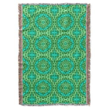 Aztec Themed Southwestern Sun Mandala Batik, Lime Green Throw Blanket