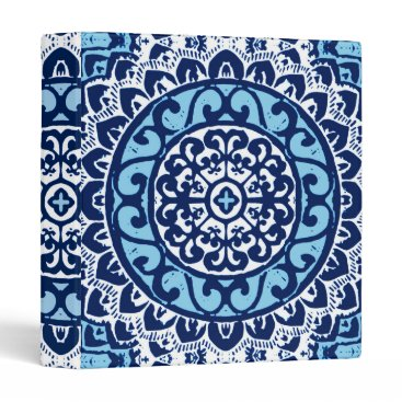 Aztec Themed Southwestern Sun Mandala Batik, Navy Blue & White 3 Ring Binder