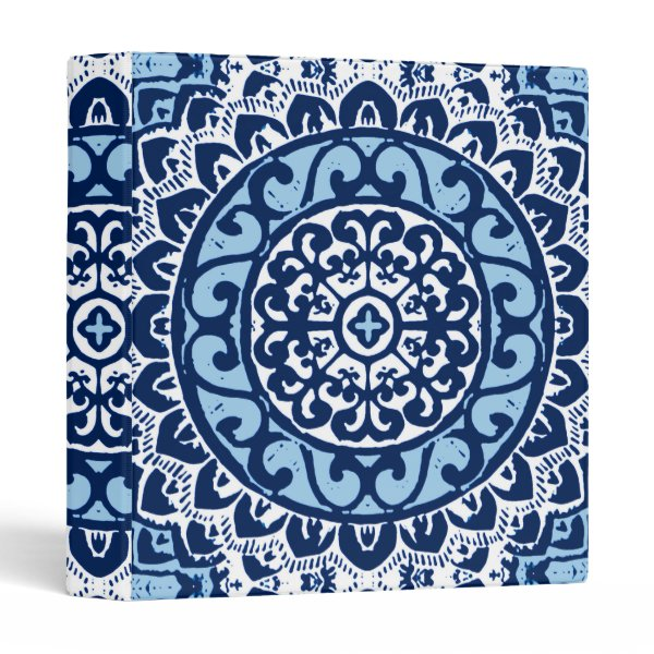Southwestern Sun Mandala Batik, Navy Blue & White 3 Ring Binder