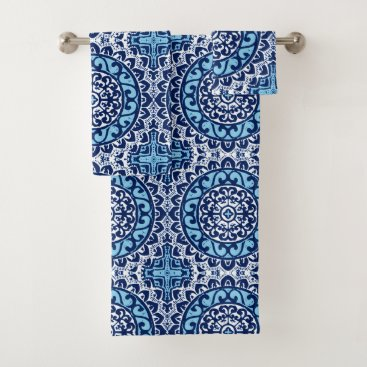 Aztec Themed Southwestern Sun Mandala Batik, Navy Blue & White Bath Towel Set
