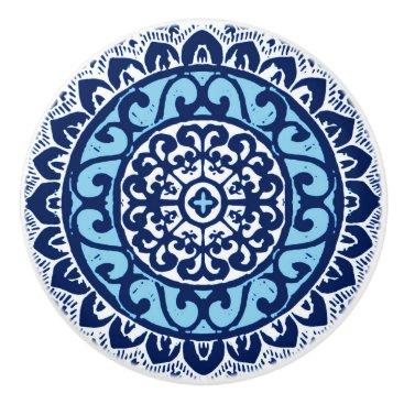 Aztec Themed Southwestern Sun Mandala Batik, Navy Blue & White Ceramic Knob