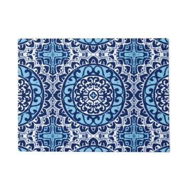 Aztec Themed Southwestern Sun Mandala Batik, Navy Blue & White Doormat