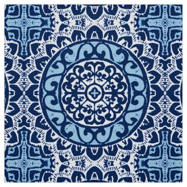 Aztec Themed Southwestern Sun Mandala Batik, Navy Blue & White Fabric