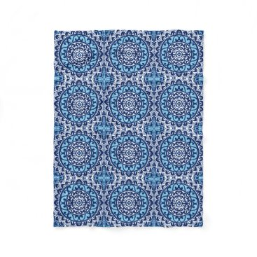 Aztec Themed Southwestern Sun Mandala Batik, Navy Blue & White Fleece Blanket