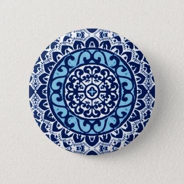 Aztec Themed Southwestern Sun Mandala Batik, Navy Blue & White Pinback Button
