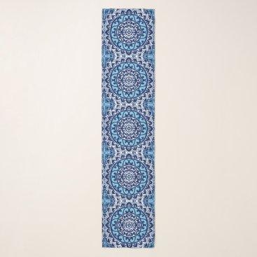 Aztec Themed Southwestern Sun Mandala Batik, Navy Blue & White Scarf