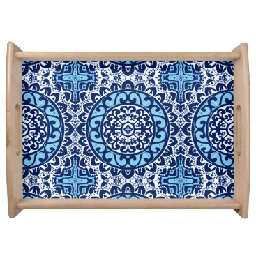 Aztec Themed Southwestern Sun Mandala Batik, Navy Blue & White Serving Tray