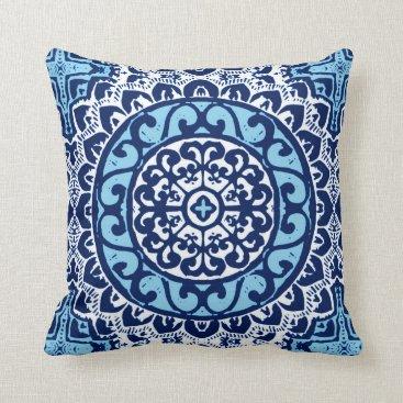Aztec Themed Southwestern Sun Mandala Batik, Navy Blue & White Throw Pillow