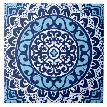 Aztec Themed Southwestern Sun Mandala Batik, Navy Blue & White Tile