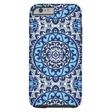 Aztec Themed Southwestern Sun Mandala Batik, Navy Blue & White Tough iPhone 6 Case
