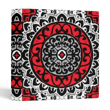 Southwestern Sun Mandala Batik, Red, Black & White Binder