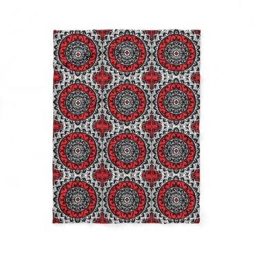 Aztec Themed Southwestern Sun Mandala Batik, Red, Black & White Fleece Blanket