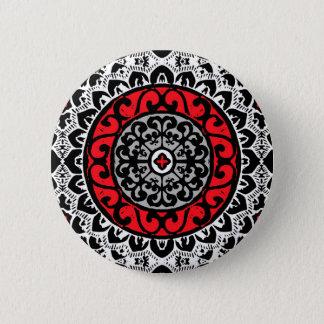 Southwestern Sun Mandala Batik, Red, Black & White Pinback Button