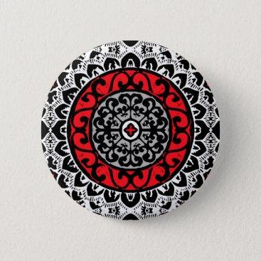 Aztec Themed Southwestern Sun Mandala Batik, Red, Black & White Pinback Button