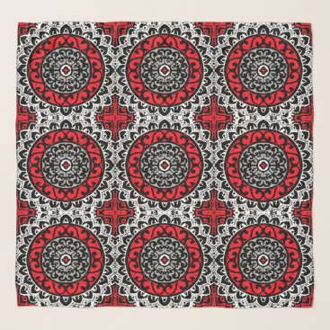 Aztec Themed Southwestern Sun Mandala Batik, Red, Black & White Scarf