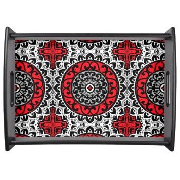 Aztec Themed Southwestern Sun Mandala Batik, Red, Black & White Serving Tray