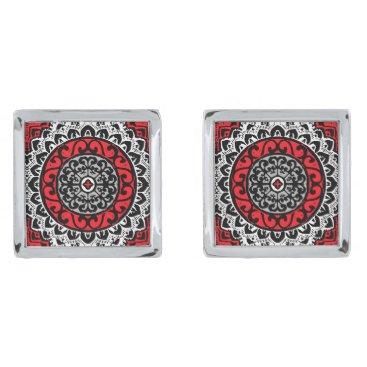 Aztec Themed Southwestern Sun Mandala Batik, Red, Black & White Silver Cufflinks