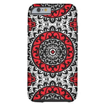 Aztec Themed Southwestern Sun Mandala Batik, Red, Black & White Tough iPhone 6 Case