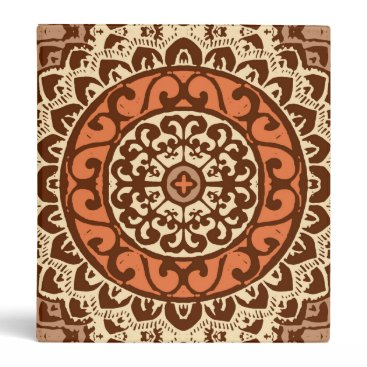Southwestern Sun Mandala Batik, Rust & Brown 3 Ring Binder