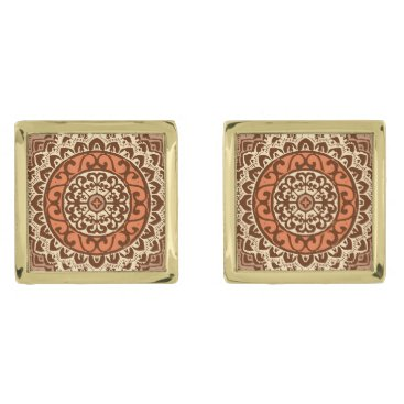 Aztec Themed Southwestern Sun Mandala Batik, Rust & Brown Gold Cufflinks