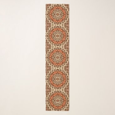 Aztec Themed Southwestern Sun Mandala Batik, Rust & Brown Scarf