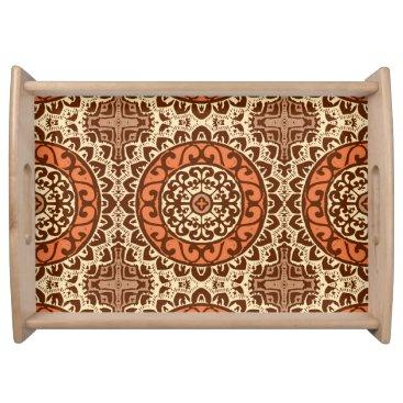 Aztec Themed Southwestern Sun Mandala Batik, Rust & Brown Serving Tray
