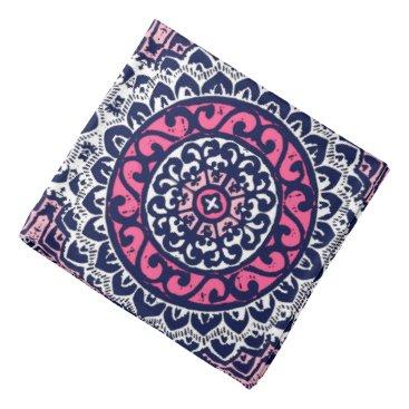 Aztec Themed Southwestern Sun Mandala, Fuchsia, Navy & White Bandana