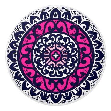 Aztec Themed Southwestern Sun Mandala, Fuchsia, Navy & White Ceramic Knob