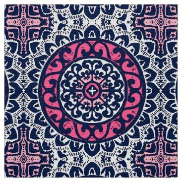 Aztec Themed Southwestern Sun Mandala, Fuchsia, Navy & White Fabric
