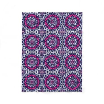 Aztec Themed Southwestern Sun Mandala, Fuchsia, Navy & White Fleece Blanket