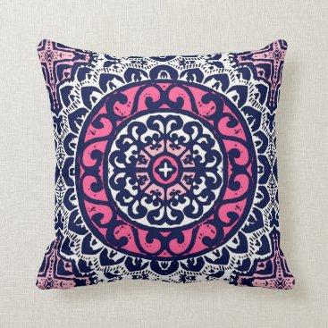 Aztec Themed Southwestern Sun Mandala, Fuchsia, Navy & White Throw Pillow
