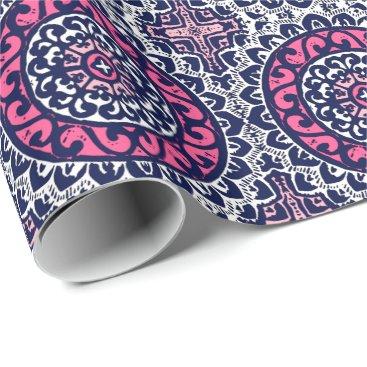 Aztec Themed Southwestern Sun Mandala, Fuchsia, Navy & White Wrapping Paper