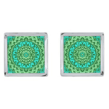Aztec Themed Southwestern Sun Mandala , Green and Turquoise Cufflinks