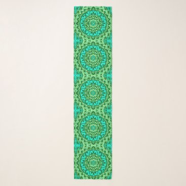 Aztec Themed Southwestern Sun Mandala, Green and Turquoise Scarf