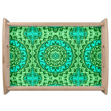 Aztec Themed Southwestern Sun Mandala, Green and Turquoise Serving Tray