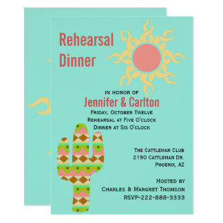 Southwestern Theme Wedding Rehearsal Dinner Card