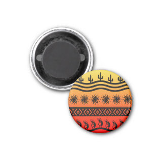 Southwestern Tribal Desert Sunset Cactus Kokopelli 1 Inch Round Magnet