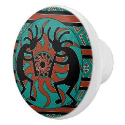 Southwestern Turquoise Tribal Sun Kokopelli Ceramic Knob