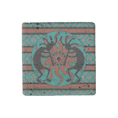 Southwestern Turquoise Tribal Sun Kokopelli Stone Magnet at Zazzle