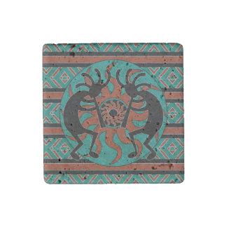Southwestern Turquoise Tribal Sun Kokopelli Stone Magnet